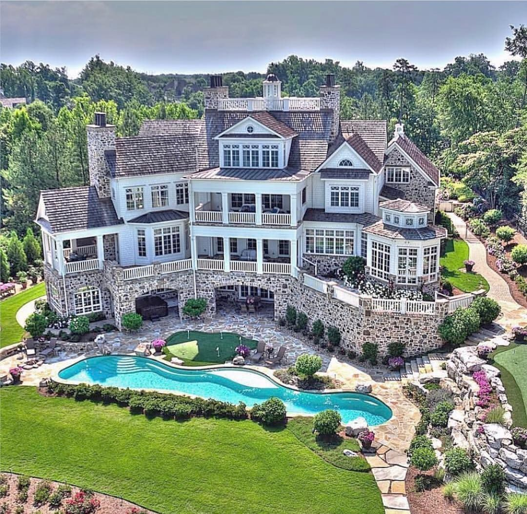 Pool Needs A Grotto With Some Hidden Nooks Dream Home Design House Designs Exterior Mansions