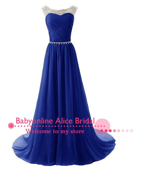 Aliexpress.com  Comprar Precio barato Vestido Do Baile gasa Vestido largo  2015 De diamantes De imitación elegante azul real Vestido De noche Vestidos  De ... 09b74142dca3