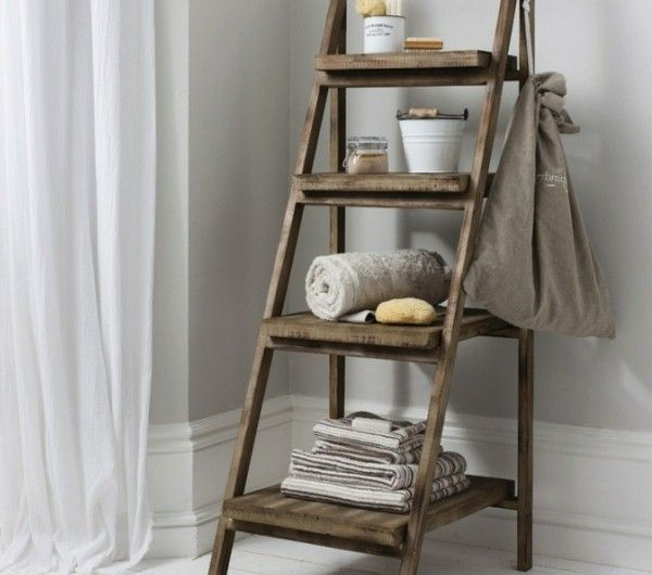 Pin By Natali Natali On Doma Wooden Ladder Shelf Ladder Shelf Decor Wooden Bathroom Shelves