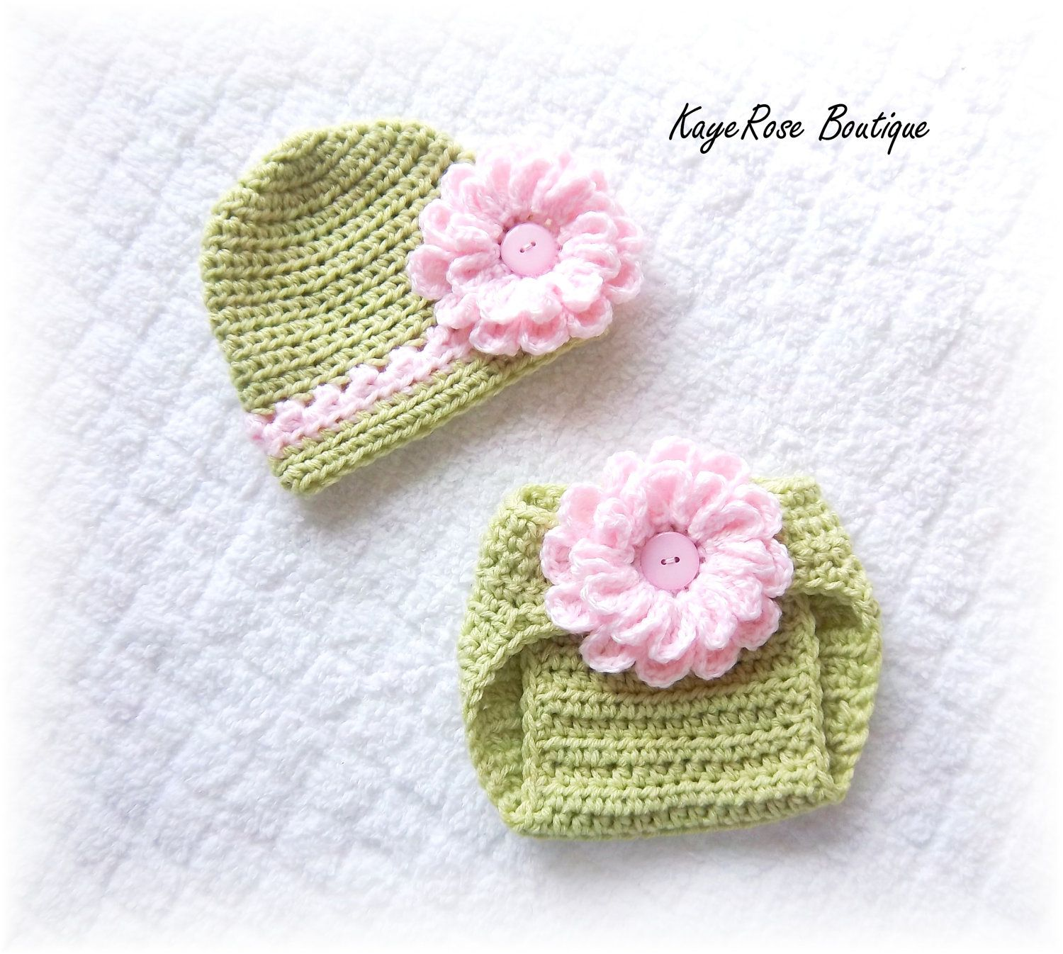 Newborn Baby Girl Crochet Flower Hat & Diaper Cover Set Pink and ...