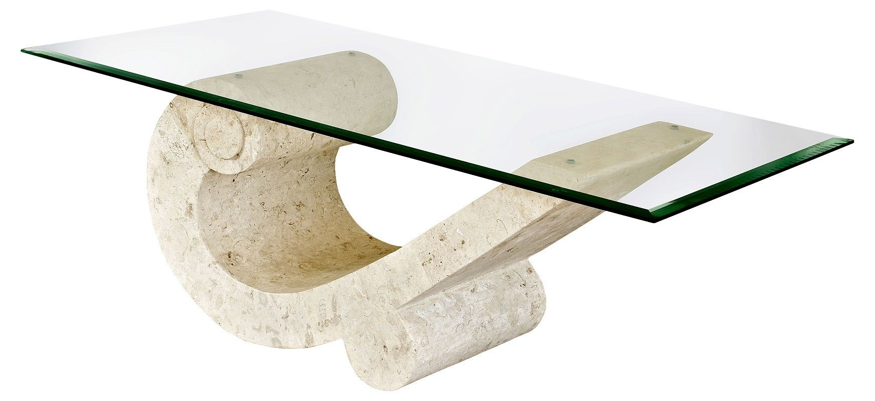 Fossil Stone And Gl Coffee Table Modern Minimalist