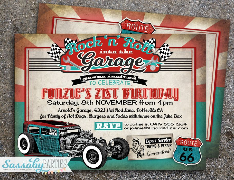 50s Garage Rock\'n\'Roll Hot Rod Invitation | Birthdays and Party ...