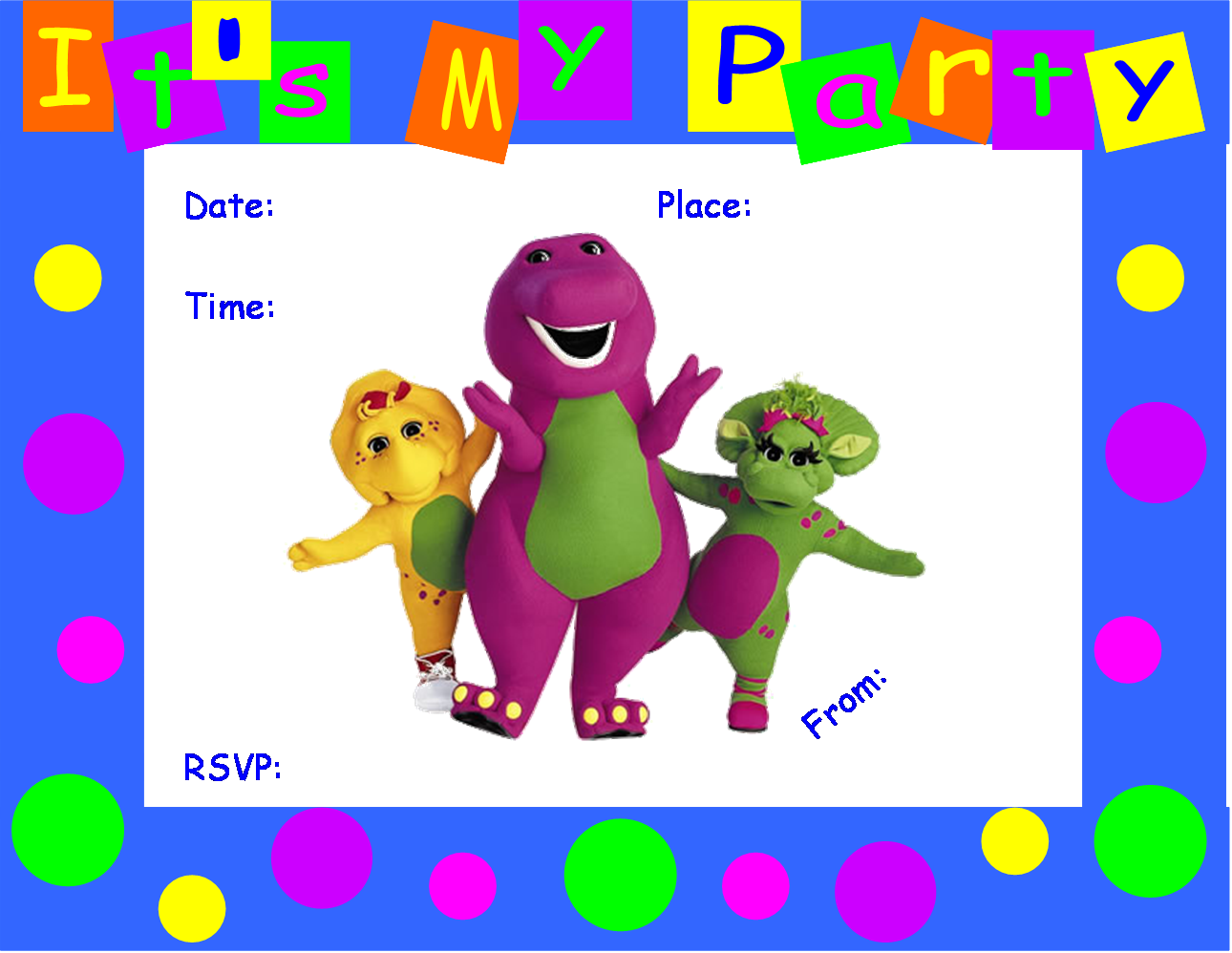 FREE Barney Birthday Party Invitation Barney Pinterest - Birthday invitation maker in dubai