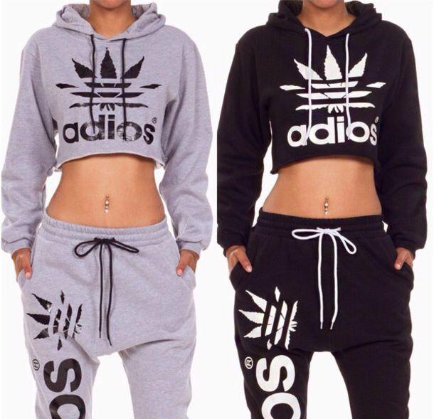 Adidas cropped Hoodie y carritos Adidas / Nike Pinterest