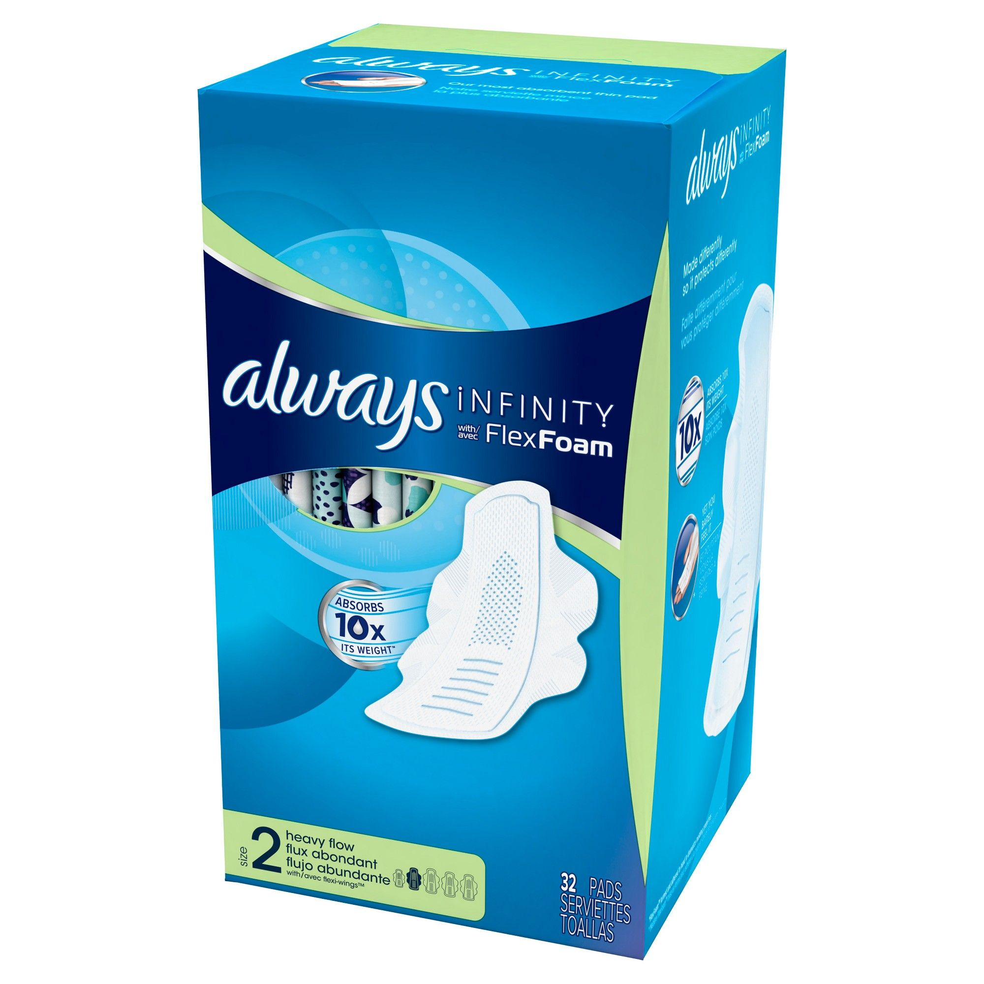 Always infinity heavy flow pads with wings 32ct always