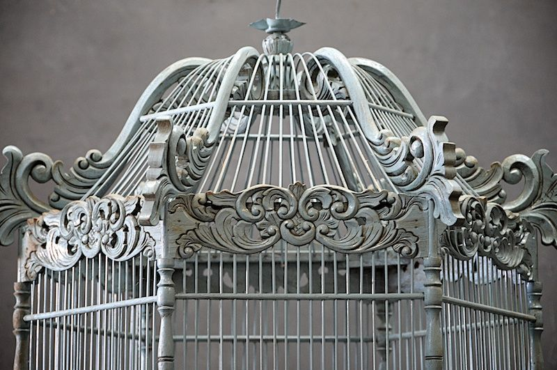 Vintage Victorian Wooden Bird Cage 20th Century Furnishings Design