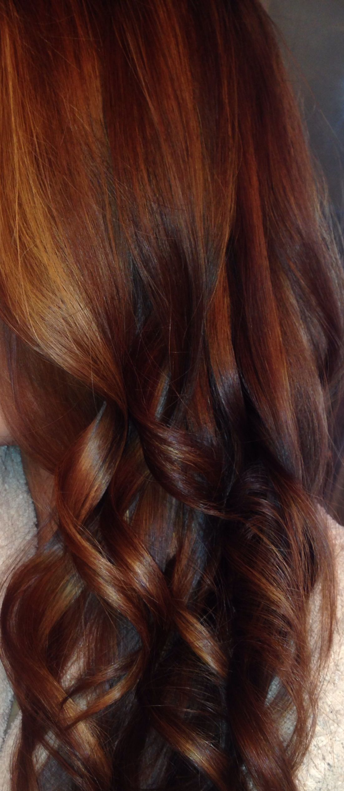 Medium a close up a rich combo of red brown caramel copper and