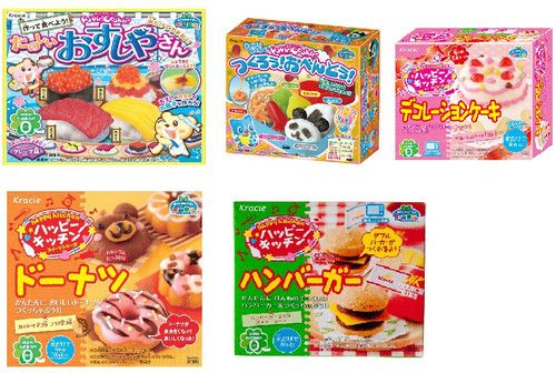 Kracie Popin Cookin Candy 5 items set - Sushi, Hambutger, Bento, Donuts, Decolation cake