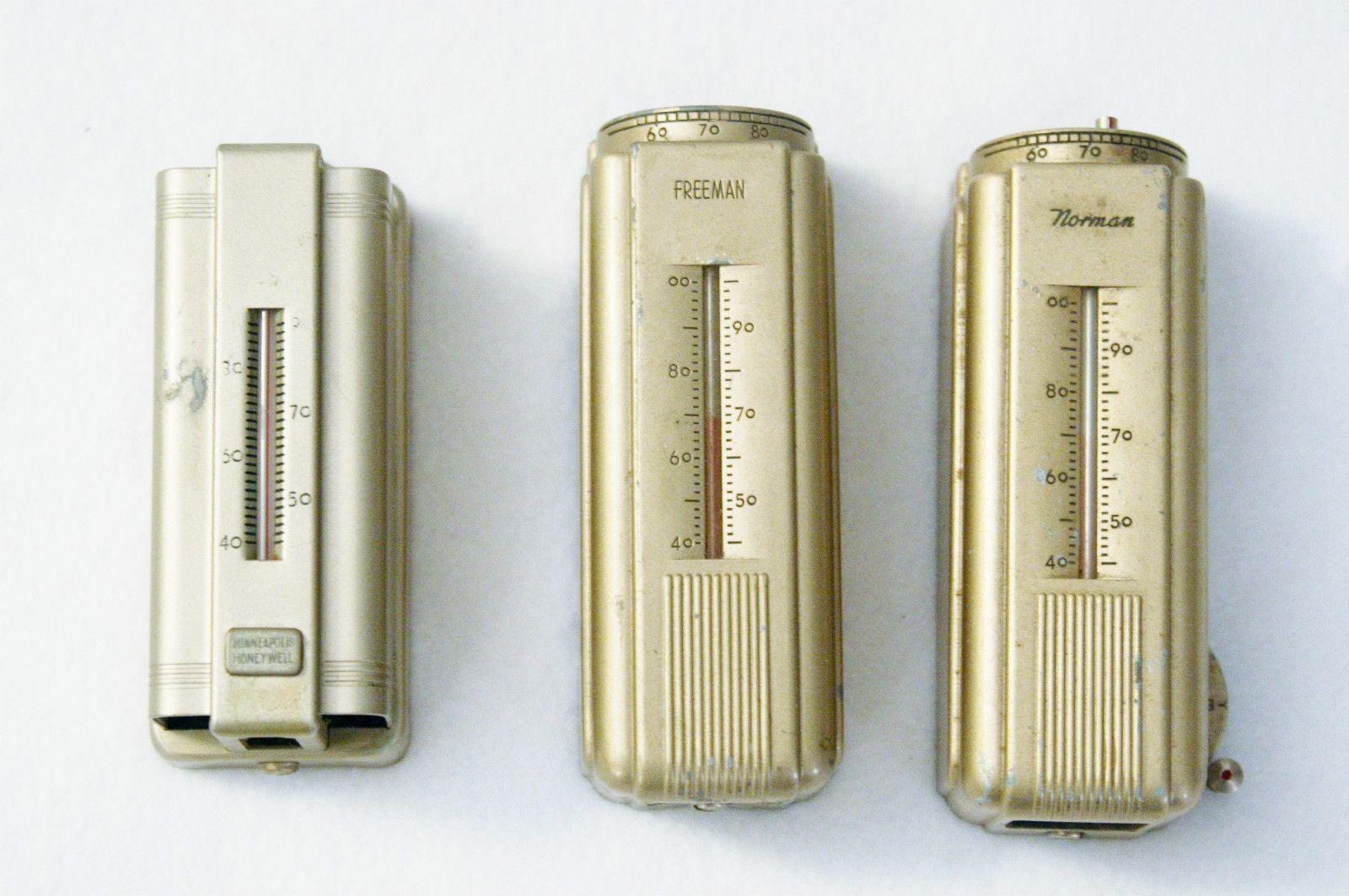 3 Vintage Wall Thermostats Honeywell Norman Freeman