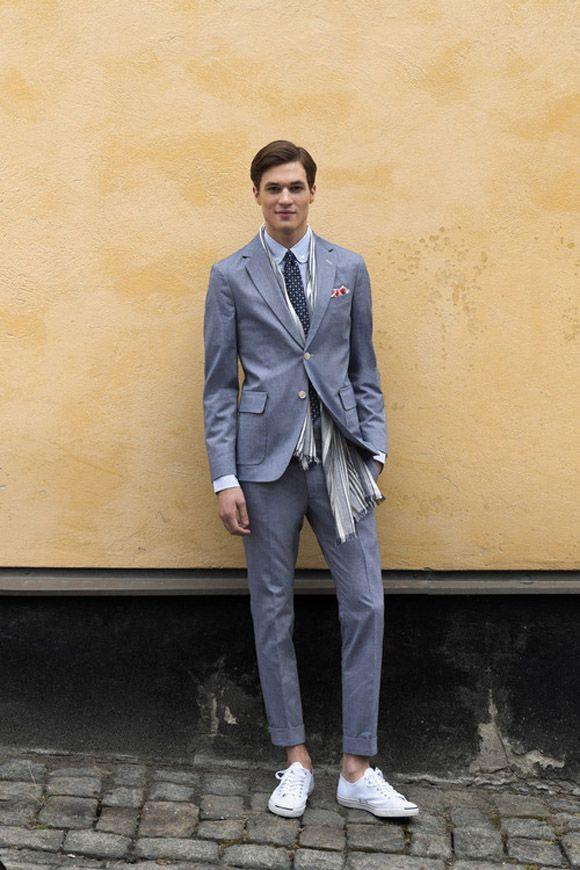 Préférence slate-gray-blue-blazer-white-sneakers-shawl-gant-rugger-spring  DJ85