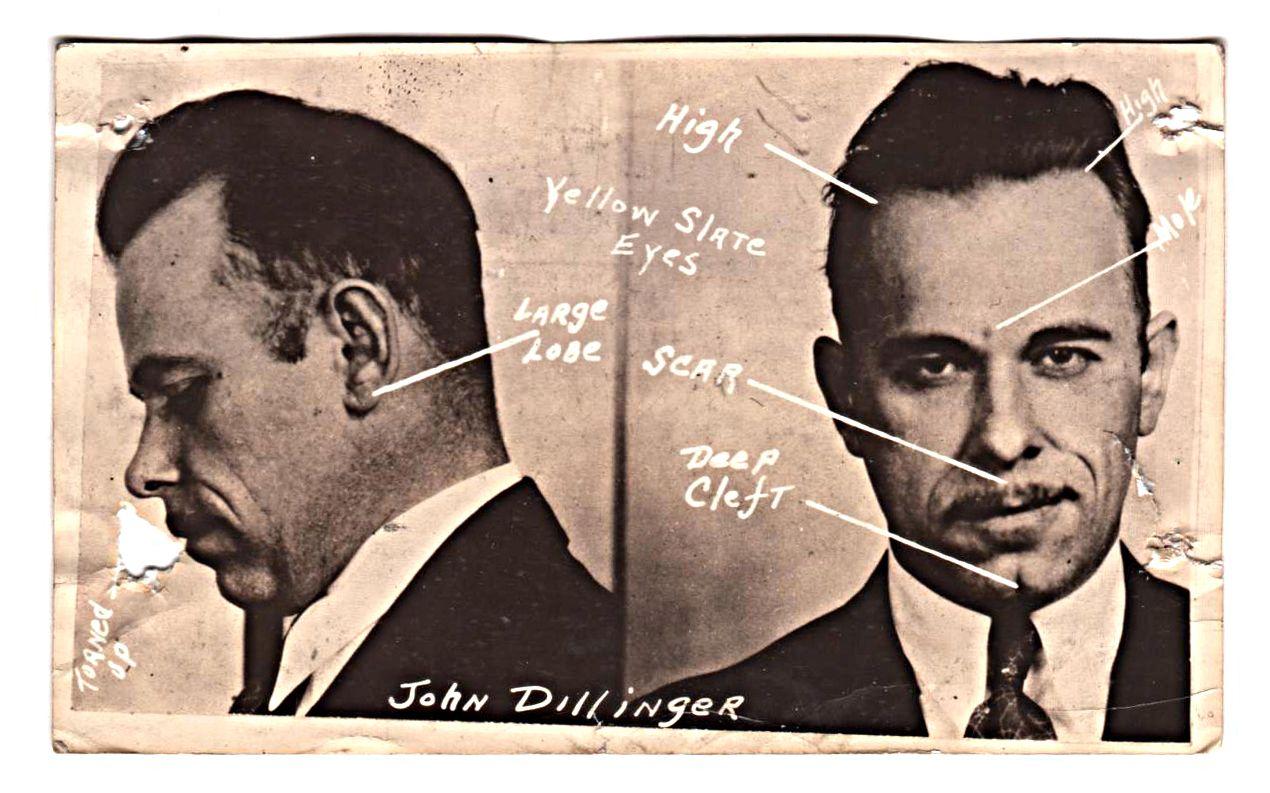 seasoned, cunning, cruel, righteous John Dillinger mug shot studied by the FBI for