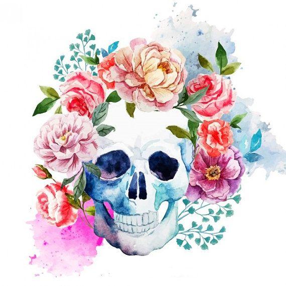Watercolor Skull And Flowers Temporary Tattoo Skull Art Skull Art Print Art