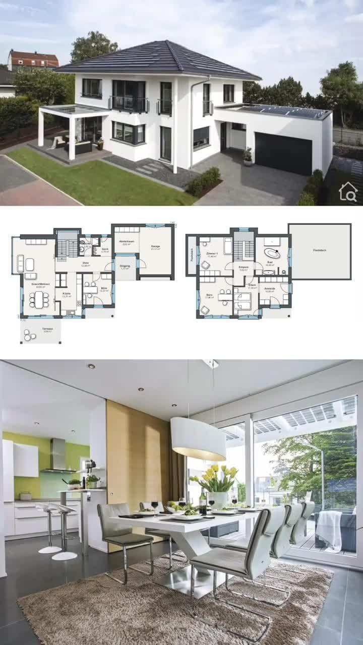 Moderne Fertighaus Stadtvilla Grundriss mit Walmdach Garage & Putz Fassade weiss Haus Design Ideen