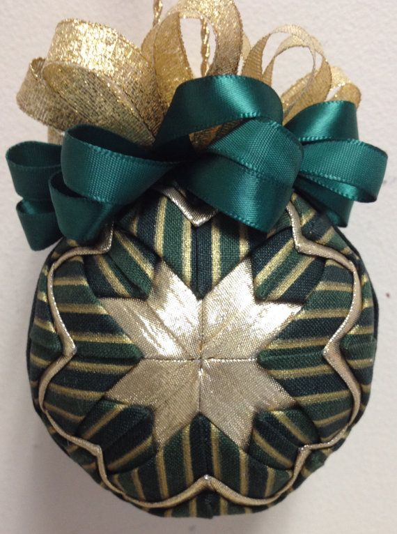 Quilted Christmas Ornament Gift Exchange Green Gold Quilted Ball Star Folded Fabric Ornament Gift Exchange Secret Santa Wedding Bridesmaid