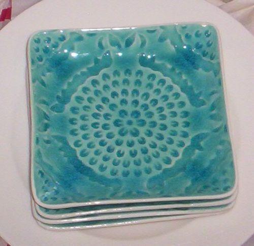 Roscher Stoneware Moroccan Medallion Crackle Plates 6\  NEW Turquoise S/3 & Roscher Stoneware Moroccan Medallion Crackle Plates 6\