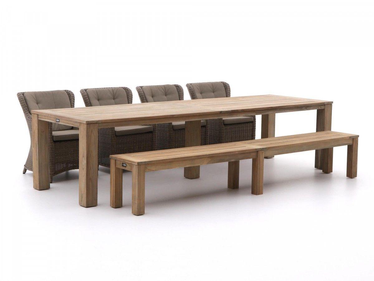 6 Teiliges Gartenmöbel Set Mit 4 Essstühlen Aus Polyrattan Und Einer  Picknickbank Und Esstisch