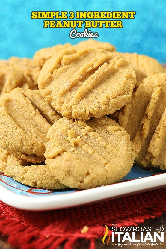 3 Ingredient Peanut Butter Cookies are soft, chewy and packed with peanut butter. This is the recipe that great grandma used to make and I am so excited to share it with you. Just stir scoop and bake. This simple recipe will be ready to go in the oven before it is done preheating! From @SlowRoasted