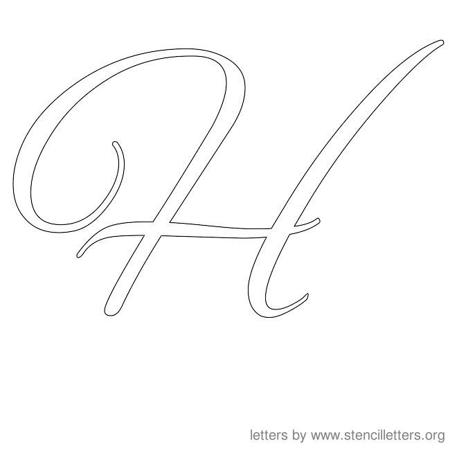 cursive letter stencils h