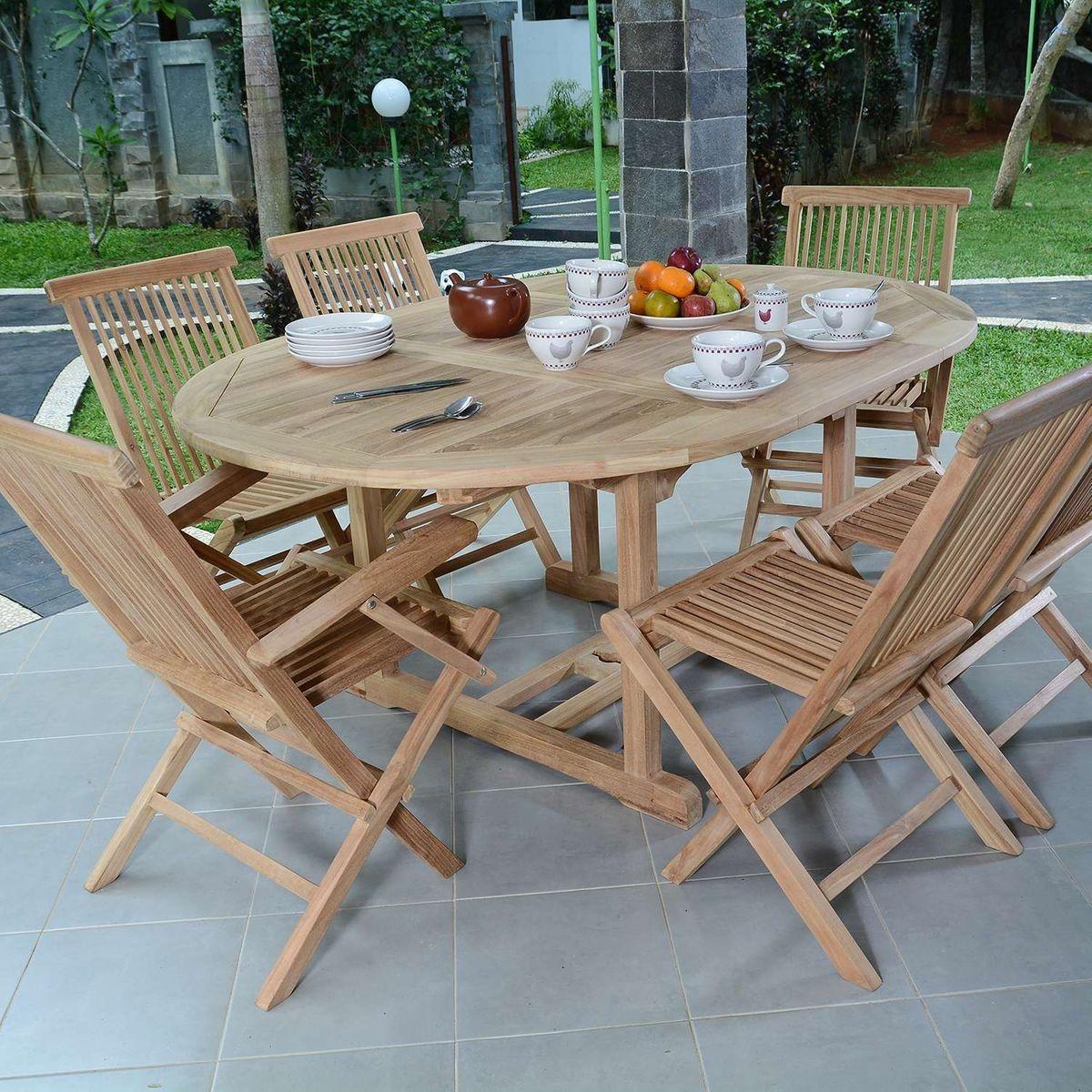 Salon de jardin en teck qualité Ecograde Sarragosse, 6 ...