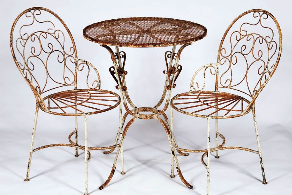 For The Front Garden. Maybe Painted Red. 2 Wrought Iron Ice Cream Chairs And