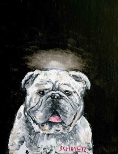 ENGLISH bulldog angel 4x6 glossy signed art PRINT impressionism artist animals g