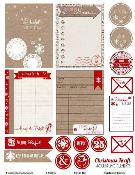 free printable download christmas kraft journaling. Black Bedroom Furniture Sets. Home Design Ideas