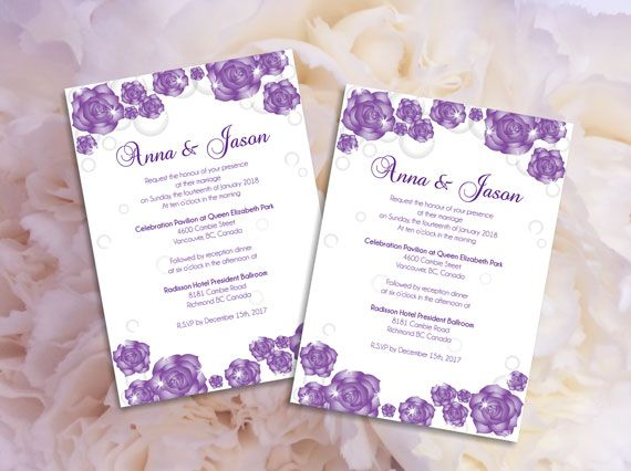 Wedding Invitation Microsoft Word Template   Purple Sparkle Roses For  Weddings And Events