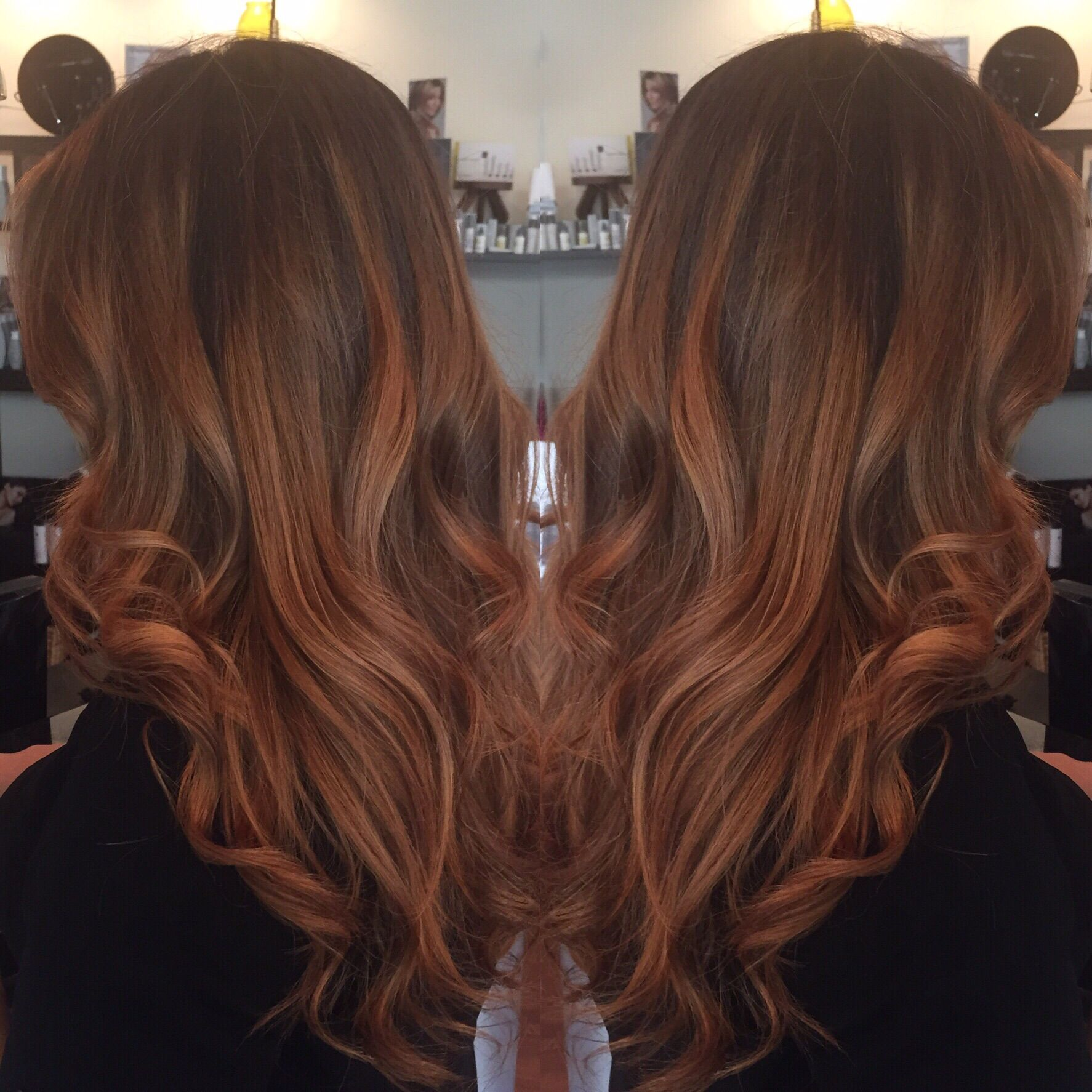 Natural balayage with rich coppery red/brown. Perfect for fall.