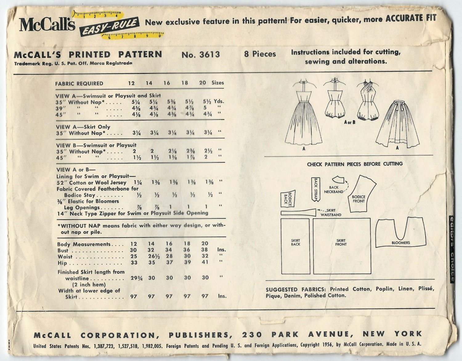 1950s Vintage Sewing Pattern McCalls 3613 Bubble Romper Bathing Swim ...