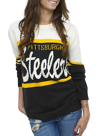 NFL Pittsburgh Steelers Unisex Throwback Intarsia Sweater - Men's