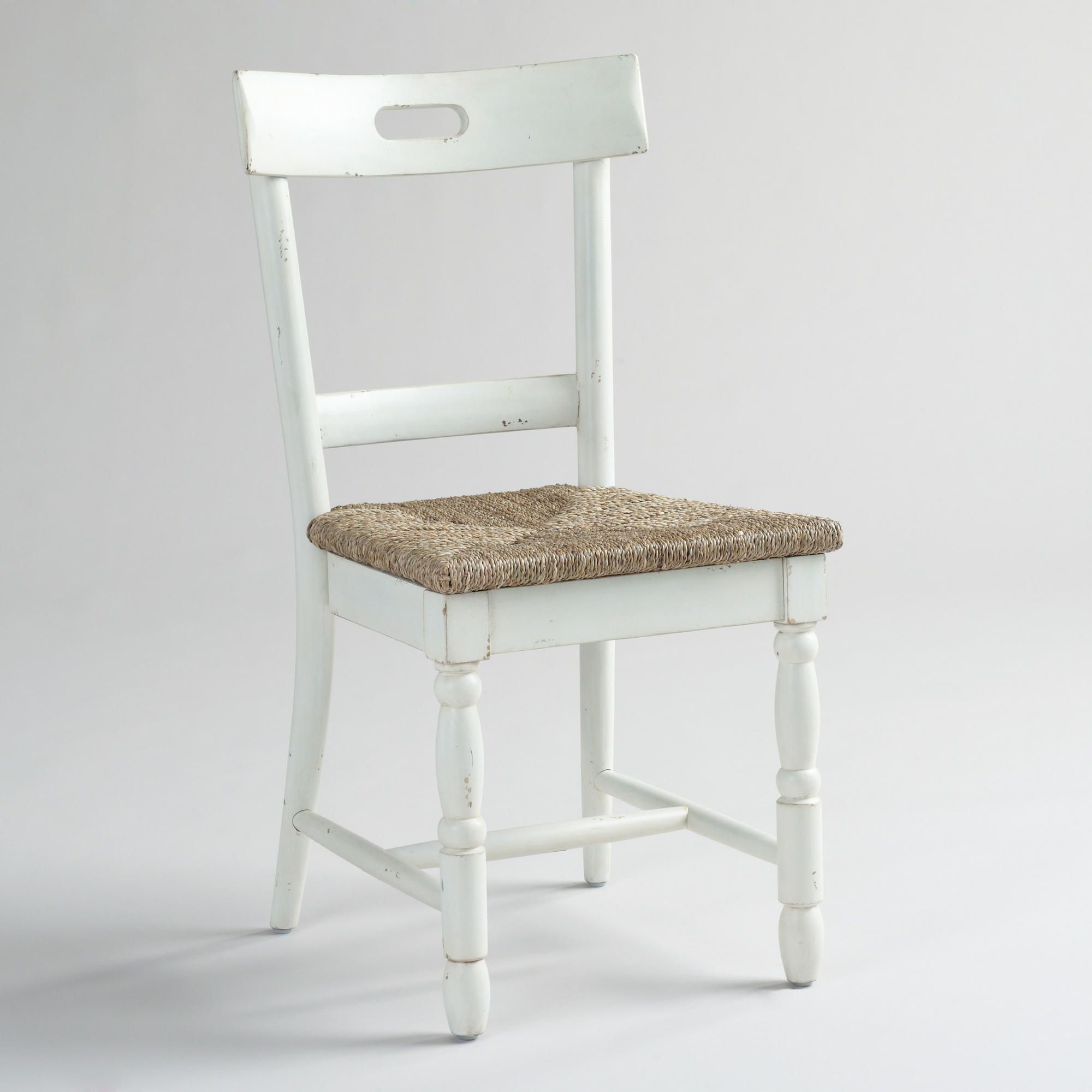 White Camille Dining Chairs With Rush