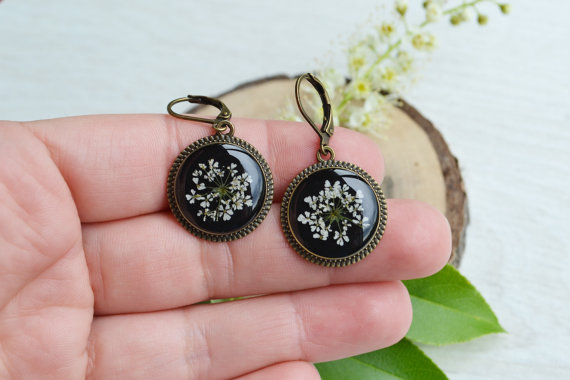 Free shipping. Earrings with real flowers in от AnastasiaGolubova