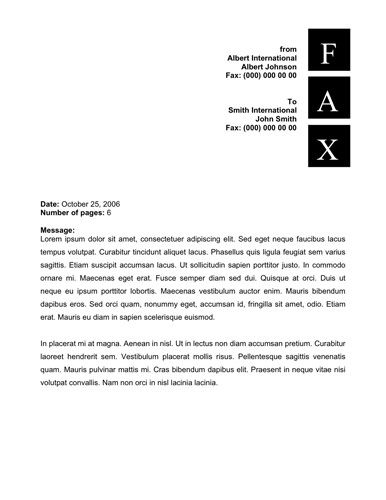 Square vertical letters design Free Printable Fax Cover Sheet