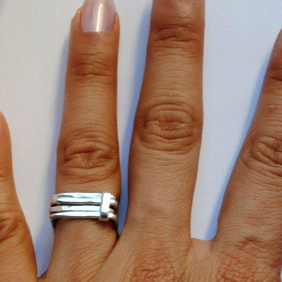 Square ring sterling silver van Florencehandmade op Etsy