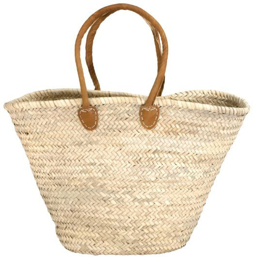"Moroccan Straw Market Bag w/Long Brown Leather Strip Handles - 20""Lx14""H - Capri"