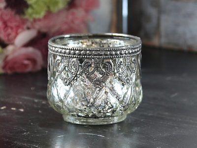 Chic Antique Windlicht Teelicht Bauernsilber Glas Shabby Landhaus Vintage • EUR 5,50