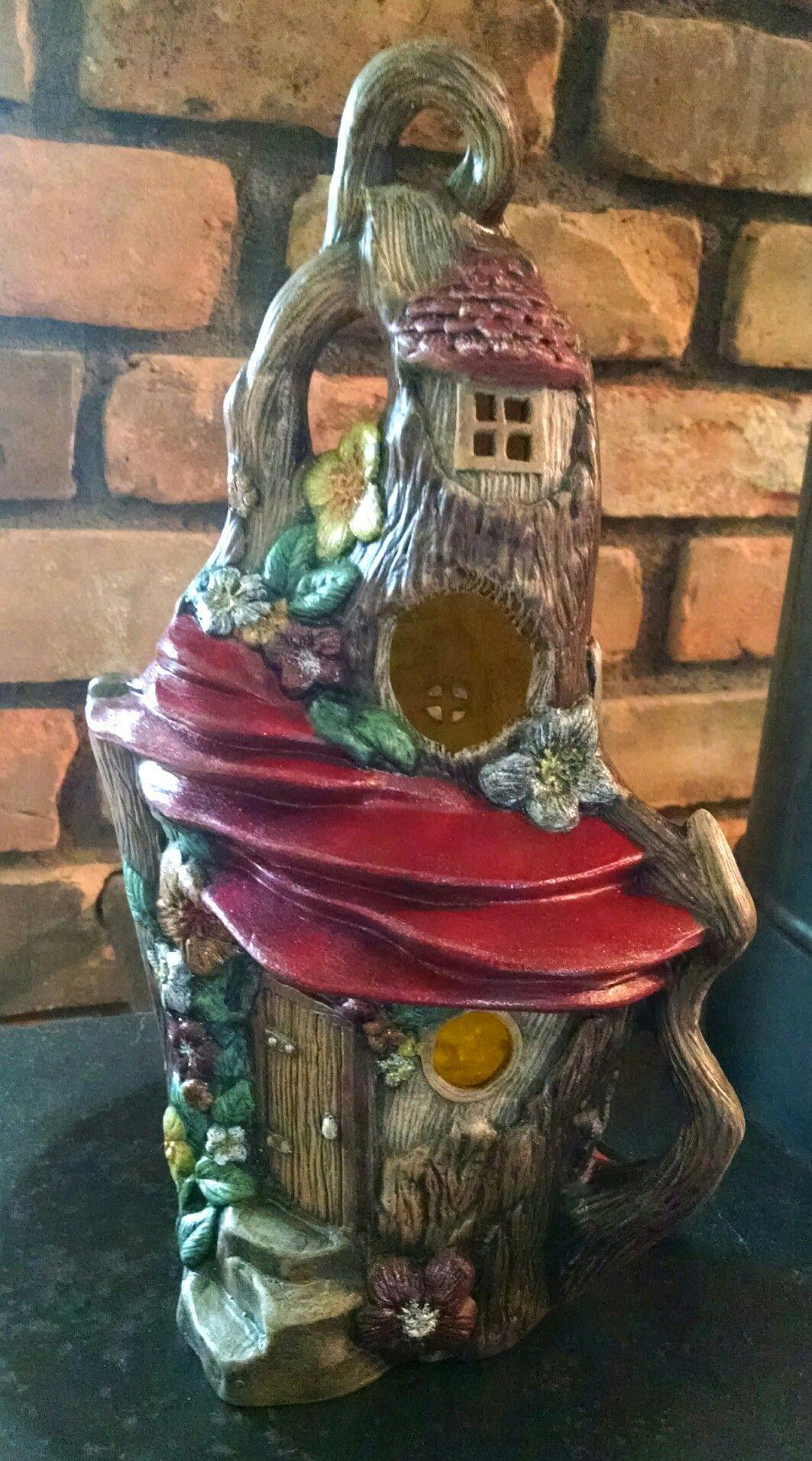 Hand painted ceramic tree stump fairy house my work