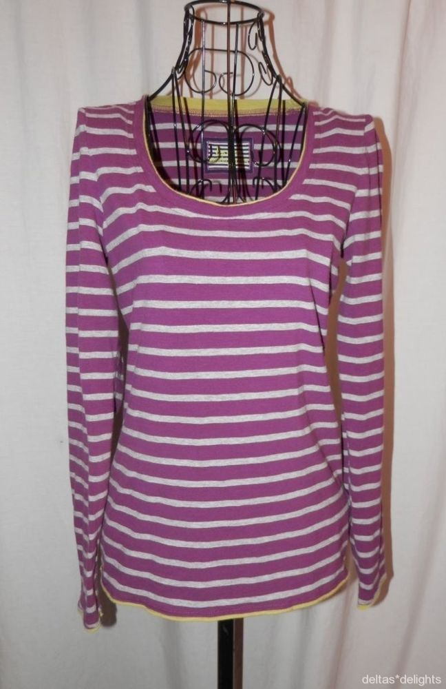 BODEN TOP 8 Purple Gray Striped Casual Knit Tee Long Sleeve Scoop Neck  #Boden #KnitTop #Casual