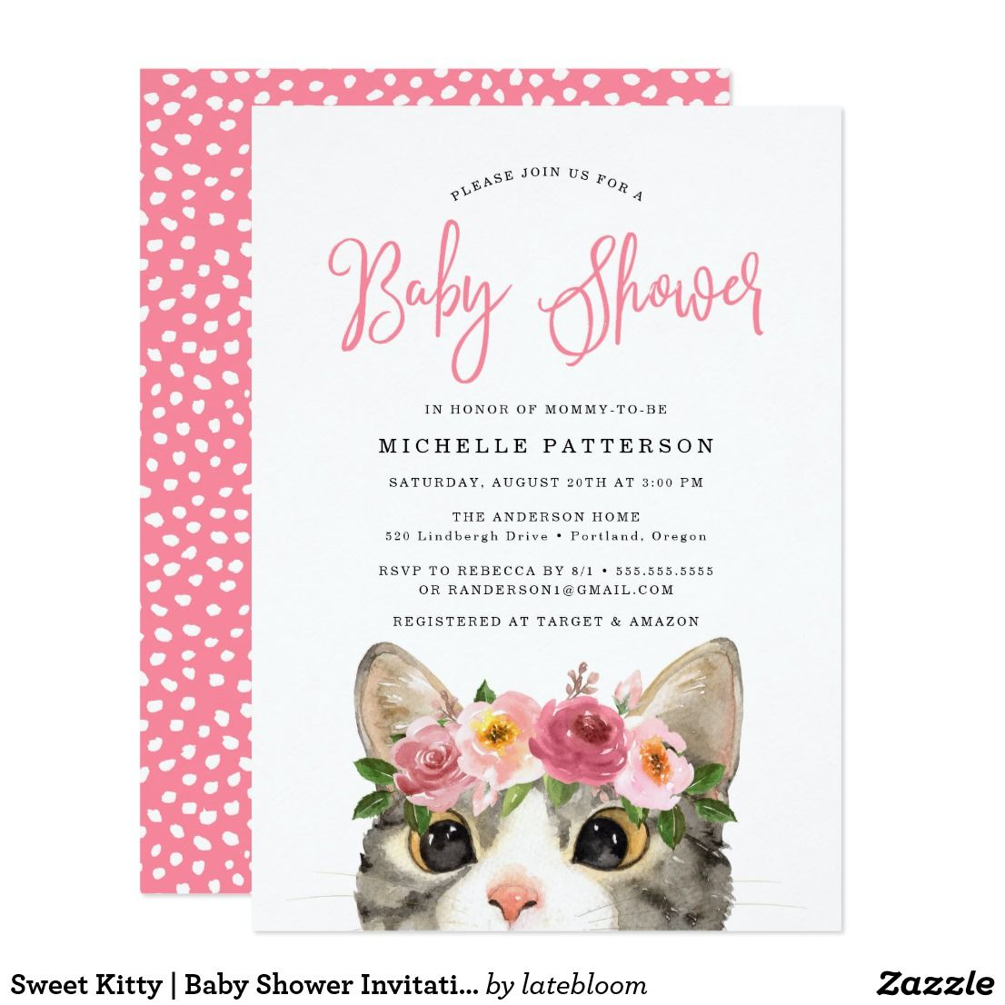 Sweet Kitty Baby Shower Invitation Zazzle Com Baby Shower Invitations Floral Baby Shower Invitations Baby Shower