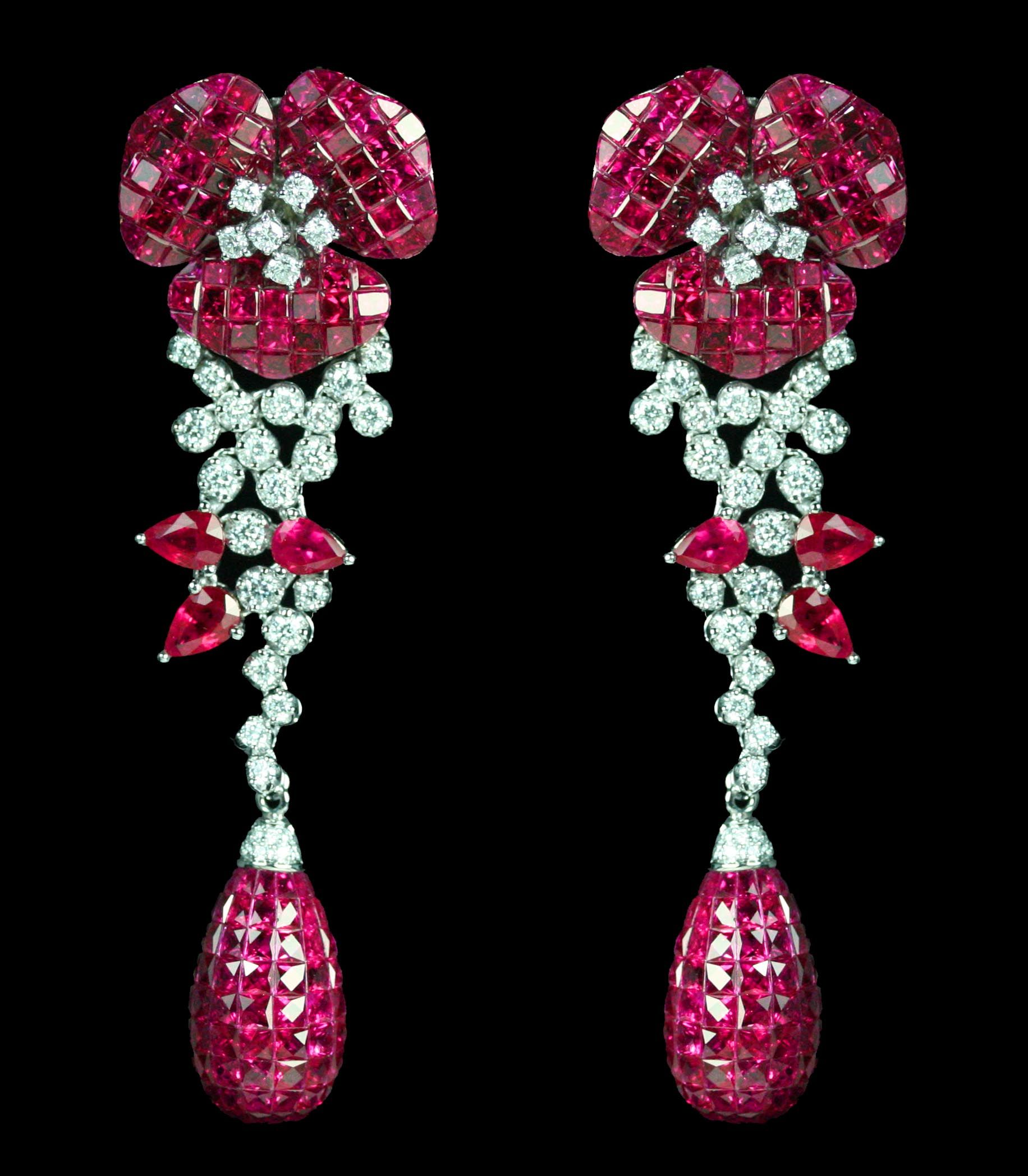 Van Cleef & Arpels Invisiblyset Ruby And Diamond Floral Earrings