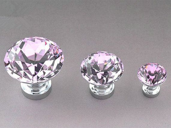 Knobs Pink Glass Knob Crystal Knobs Drawer Knobs Dresser Pulls