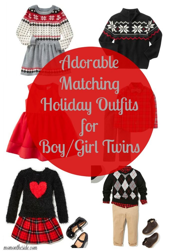 With the holidays coming up, I've been thinking about kids holiday outfits.  If you are too, check out these Matching Holiday Outfits for Boy/Girl Twins. - Adorable Matching Holiday Outfits For Boy/Girl Twins Mom On The