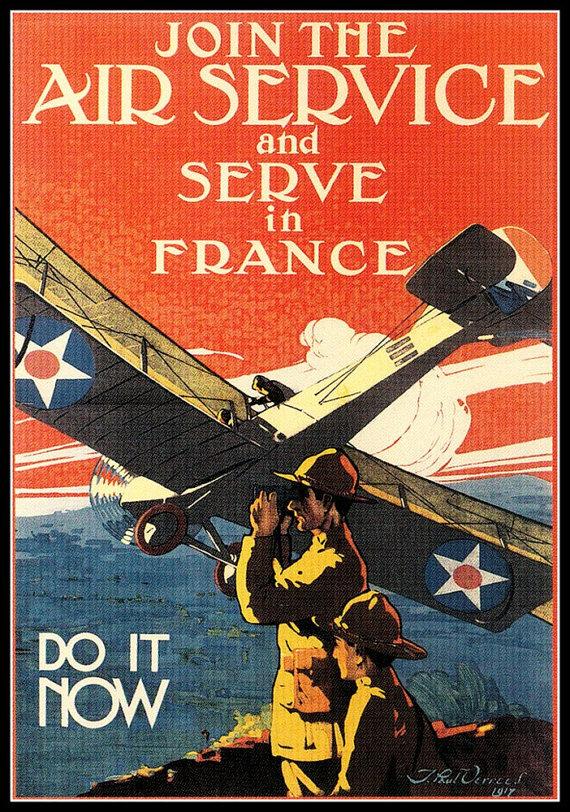 Art Print US Air Service France Print World War I by
