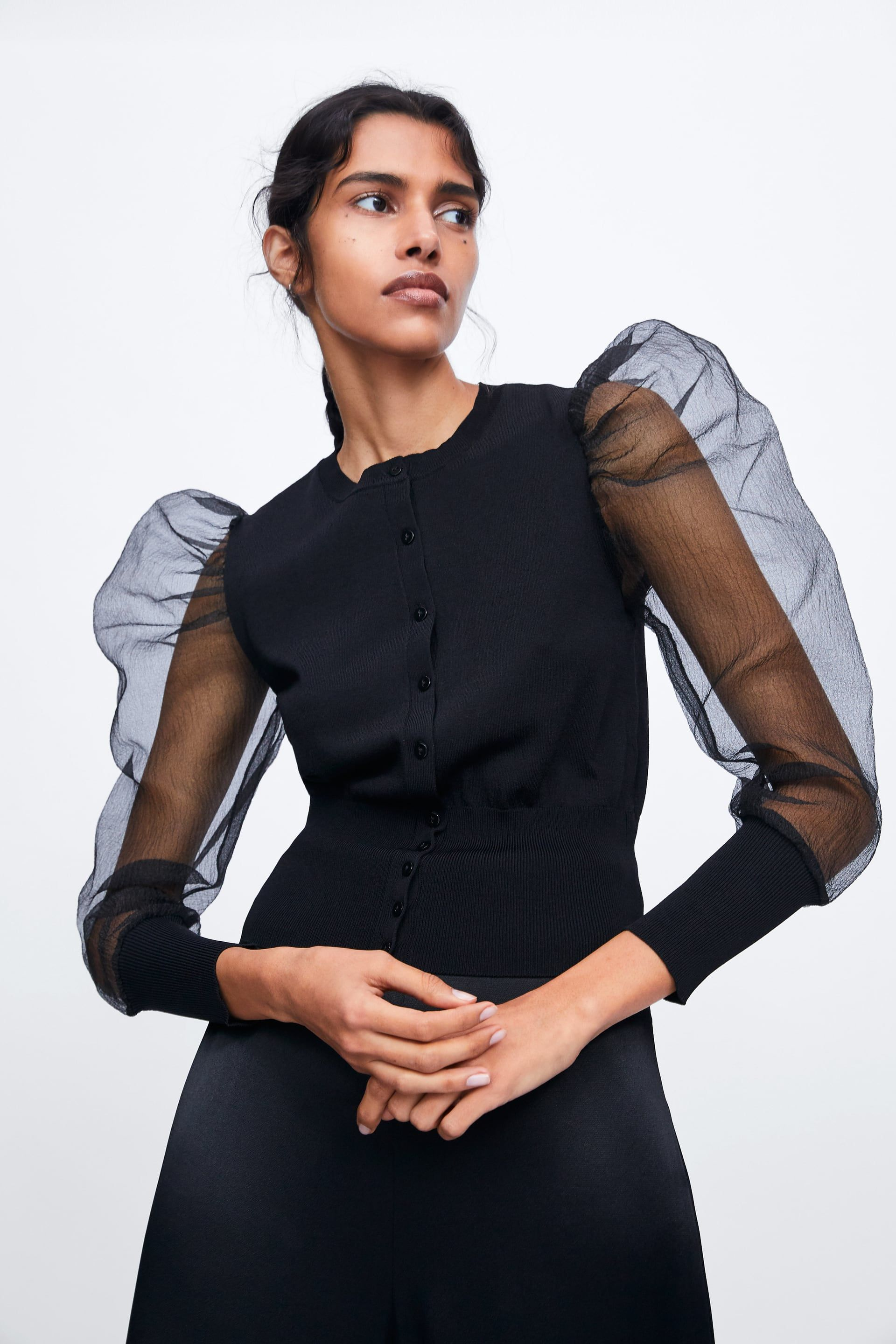 Knit cardigan with organza sleeves | Dress Me in 2019 | Knit