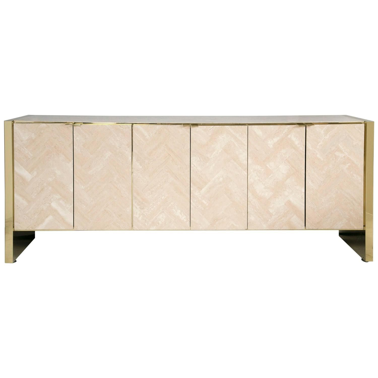 Polished Herringboned Travertine And Brass Credenza By Ello Furniture