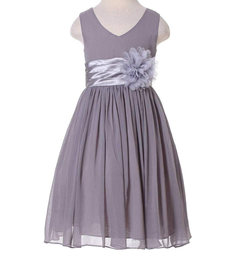 eba86f1b7f Amazon.com  Bow Dream Junior Bridesmaids V-Neckline Chiffon Flower Girl  Dress  Clothing