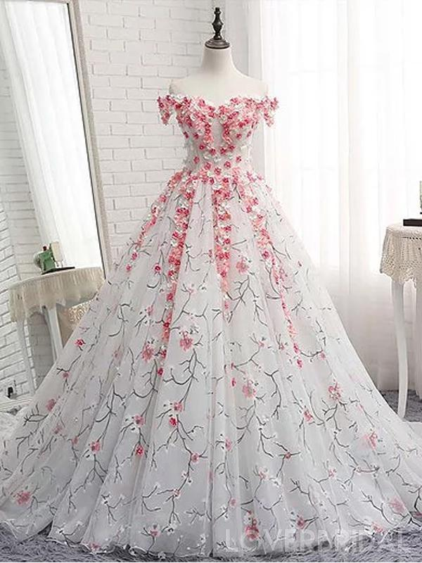 Off Shoulder Lace Applique A-line Evening Prom Dresses e6f10f7d16ad