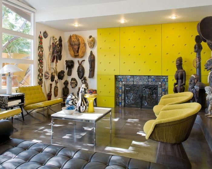 Gemütliches Wohnzimmer   Afrikanische Deko   Gelbe Wabd
