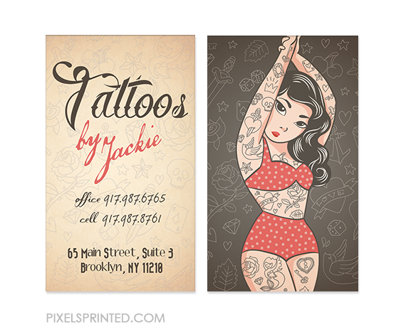 tattoo artist business cards, tattoo parlor business cards, tattoo cards