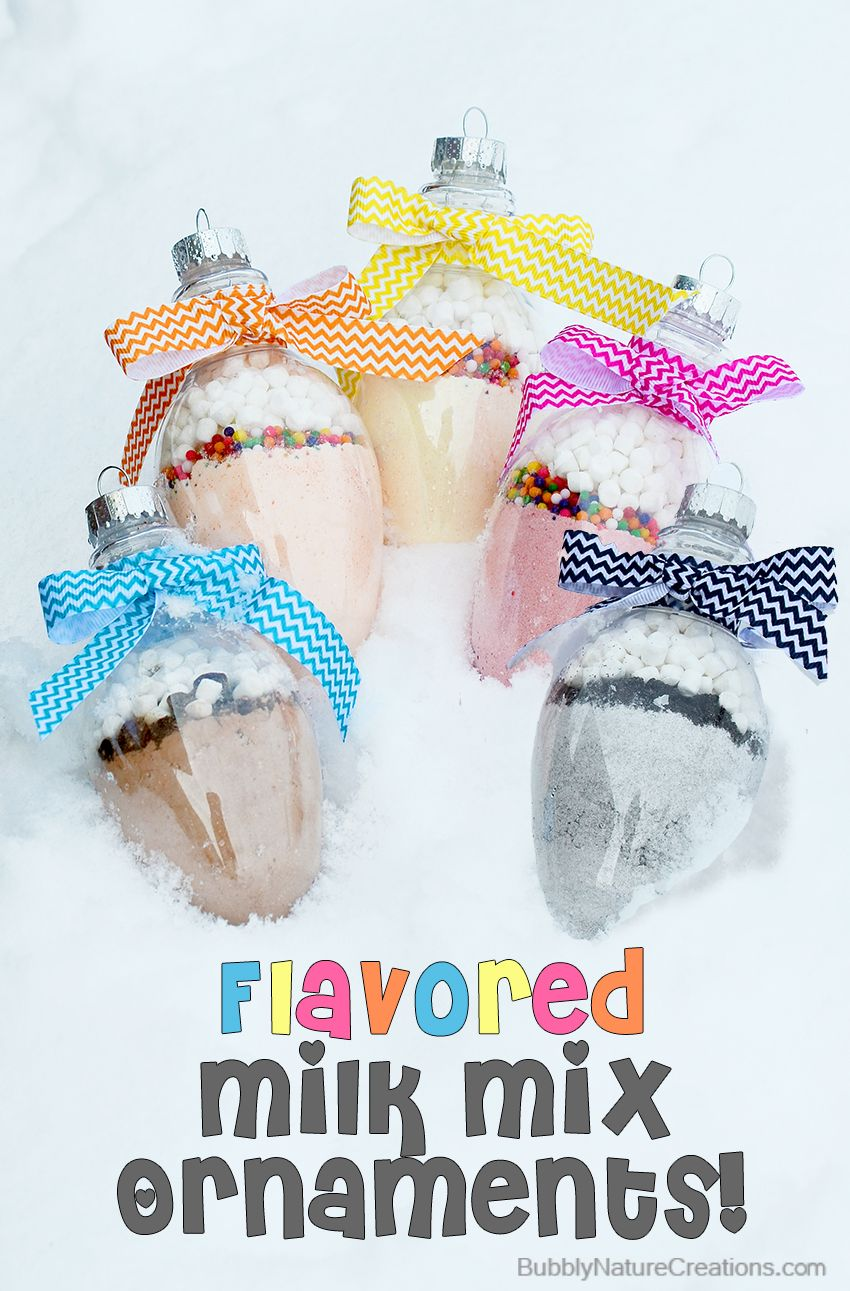 Flavored Milk Mix Ornaments! Combine with milk to make fun flavored drinks.  Great stocking stuffer.